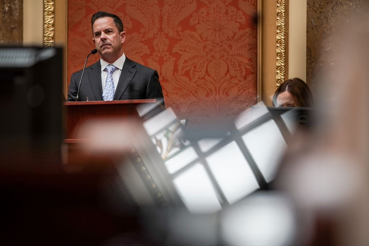 House Speaker Brad Wilson, R-Kaysville, presides in the House chamber at the Capitol in Salt Lake City during a special legislative session on Thursday, April 23, 2020. Legislators are participating in the special session by video to preserve social distancing as the state grapples with the COVID-19 pandemic.