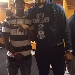 Former BYU running back Jamaal Williams and BYU commit Chinonso Opara pose recently at a Cougar game.