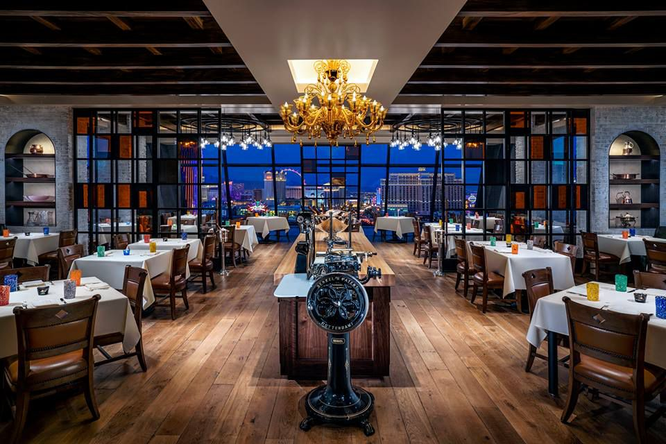 Restaurant interior with sweeping views of the Las Vegas Strip