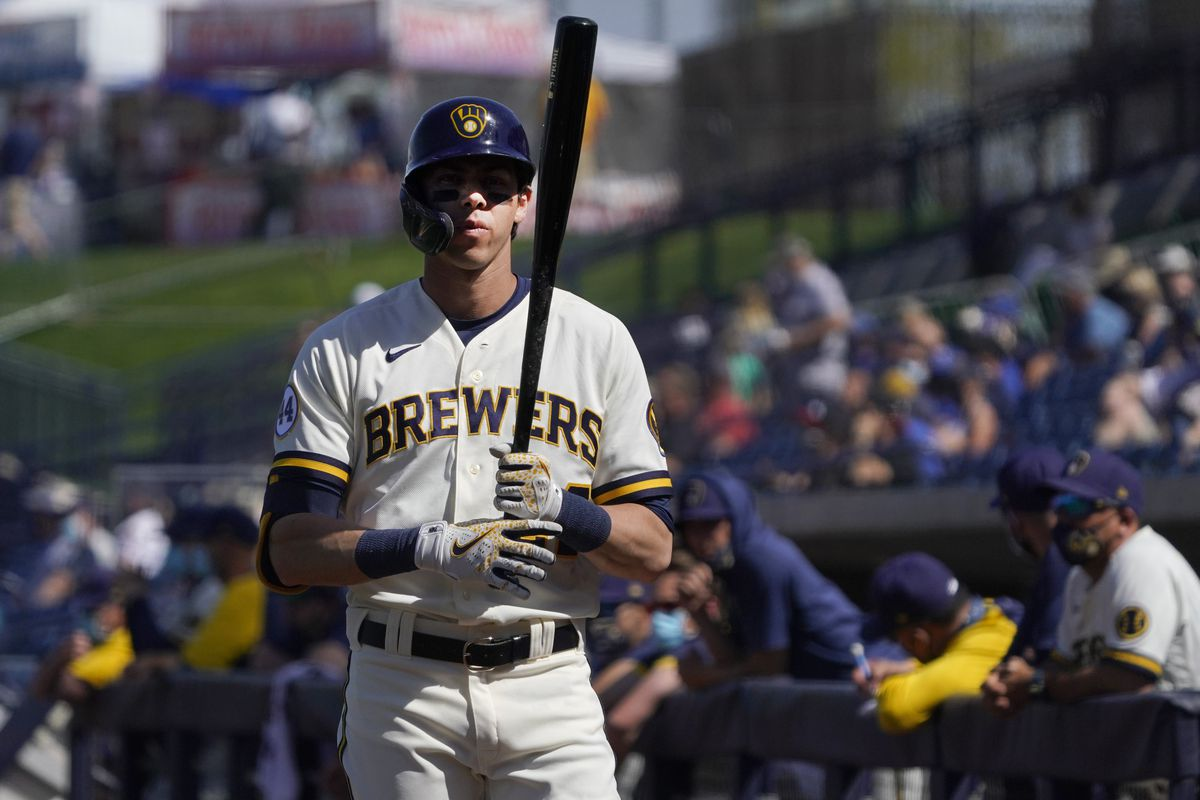 Milwaukee Brewers left fielder Christian Yelich gets ready to hit against the Seattle Mariners during a spring training game at American Family Fields of Phoenix.