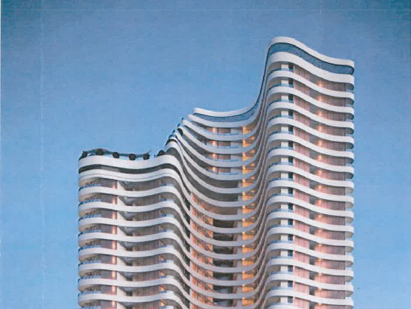 A rendering of the high-rise.