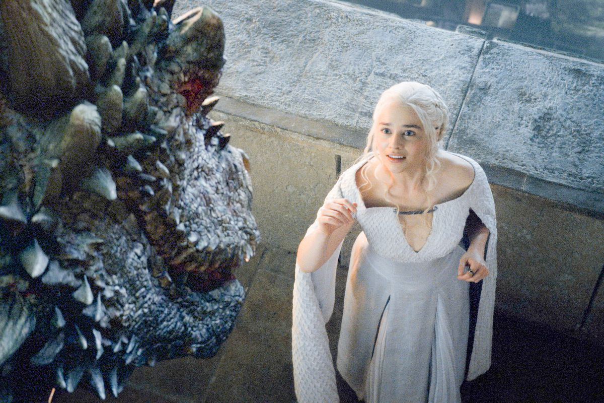 Daenerys (Emilia Clarke) finds Drogon returned to her, only to lose him all over again.