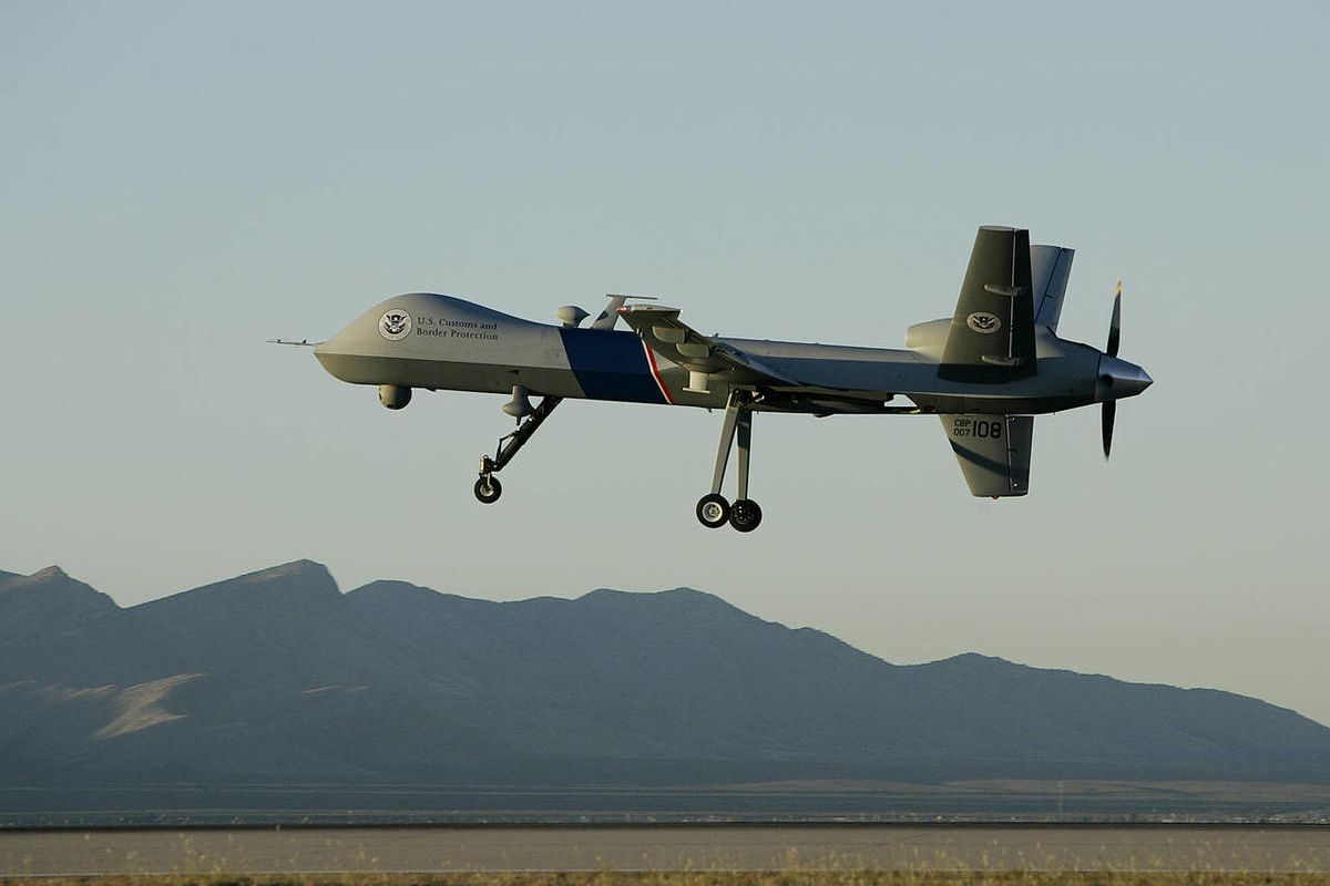 FILE -- In an Oct. 25, 2007 file photo a Predator drone unmanned aerial vehicle takes off on a U.S. Customs Border Patrol mission from Fort Huachuca, Ariz.  The Federal Aviation Administration has been asked to issue flying rights for a range of pilotless