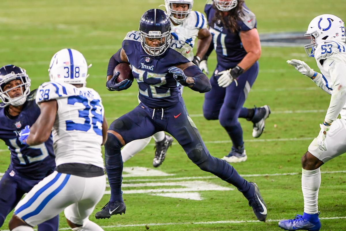 Tennessee Titans running back Derrick Henry runs the ball against the Indianapolis Colts during the second half at Nissan Stadium.