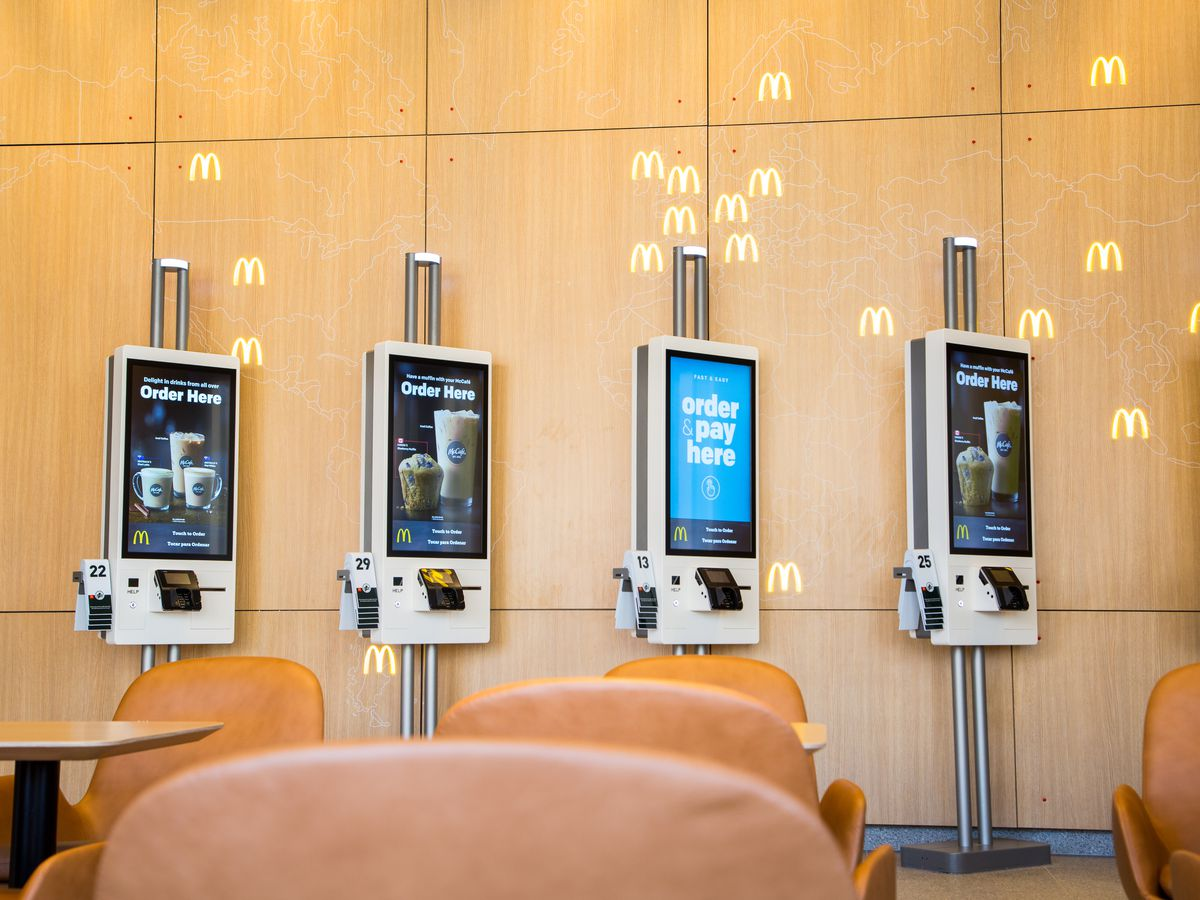 Customers can order via touch-screen kiosks at the new McDonald's HQ restaurant.   Provided by McDonald's