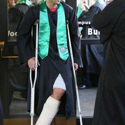 Utah Valley University graduate Francisco Chavarria waits for commencement in Orem on Thursday, April 30, 2015.