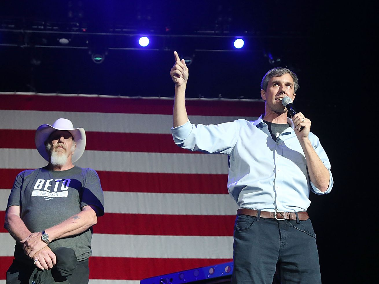 Texas Rep. Beto O'Rourke (right) speaking at a Senate campaign rally.