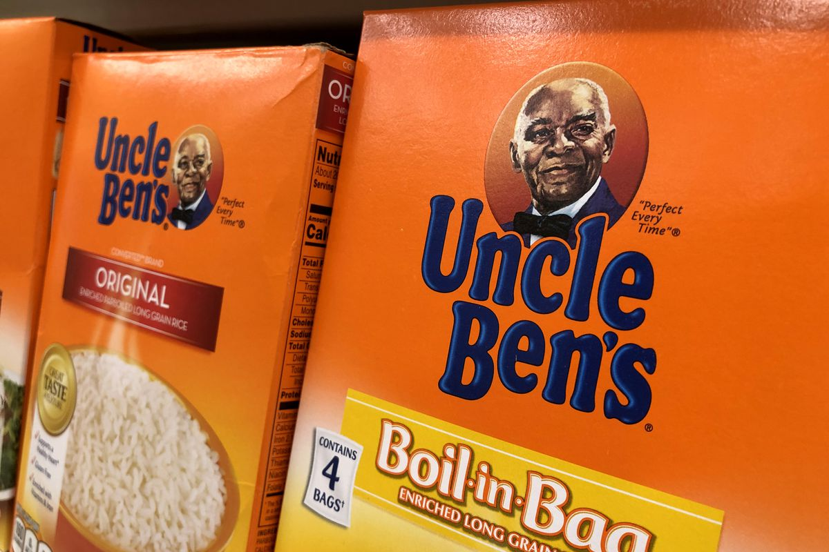 Uncle Ben's rice on a grocery shelf.