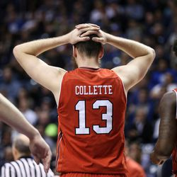 Utah Utes forward David Collette (13) reacts as the Utes trail the Brigham Young Cougars at the Marriott Center in Provo on Saturday, Dec. 16, 2017.