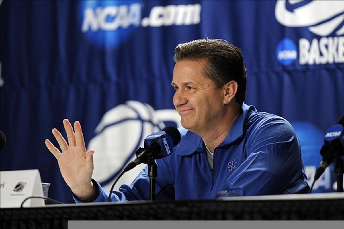 Calipari retracts his horns and barbed tail when he goes before the media.