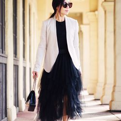"""Hallie of <a href=""""http://www.halliedaily.com""""target=""""_blank"""">Hallie Daily</a> is wearing a <a href=""""http://shop.nordstrom.com/s/free-people-ruffle-tulle-skirt/3623771?cm_cat=partner&cm_ite=1&cm_pla=15&cm_ven=Linkshare&origin=saveforlater&siteId=QFGLnEolO"""