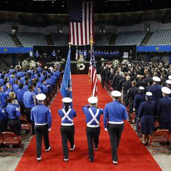 A Transportation Security Administration officer color guard enters the Los Angeles Sports Arena for a public memorial service for slain TSA officer Gerardo Hernandez, Tuesday, Nov. 12, 2013. Hernandez was the first TSA officer killed in the line of duty when a gunman pulled a rifle from a bag and shot the 39-year-old father of two on Nov. 1, at Los Angeles International Airport. Two other TSA officers and a teacher were injured before airport police wounded the gunman, Paul Ciancia.