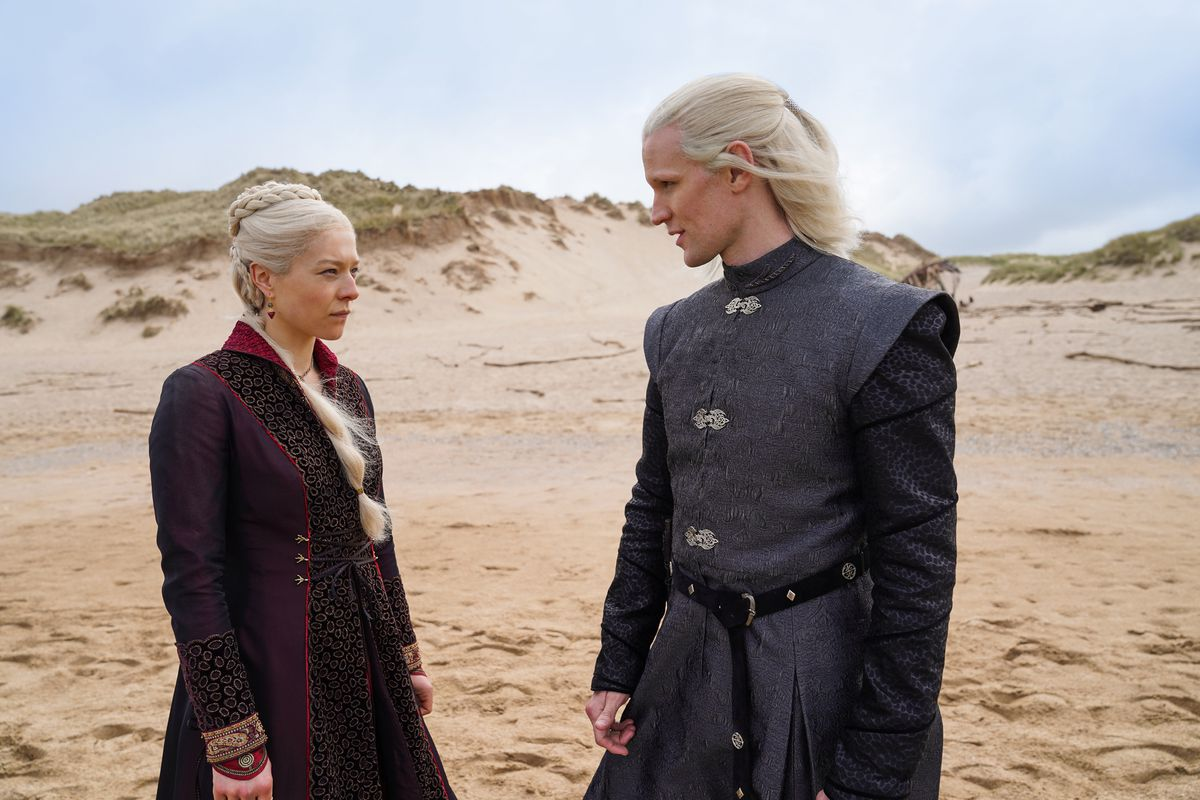 "Emma D'Arcy as ""Princess Rhaenyra Targaryen"" and Matt Smith as ""Prince Daemon Targaryen"" in House of the Dragon"