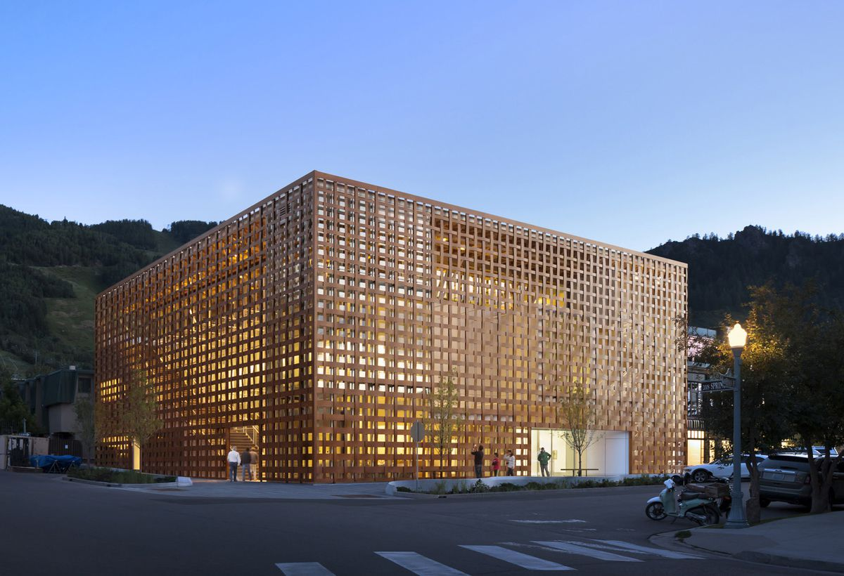 The exterior of the Aspen Art Museum in Colorado. The facade is paper and resin and resembled a woven box.