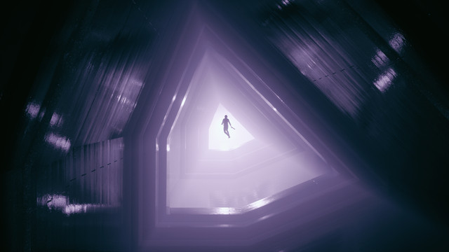 a woman floats down a purple hallway that's shaped like a pentagon in Control
