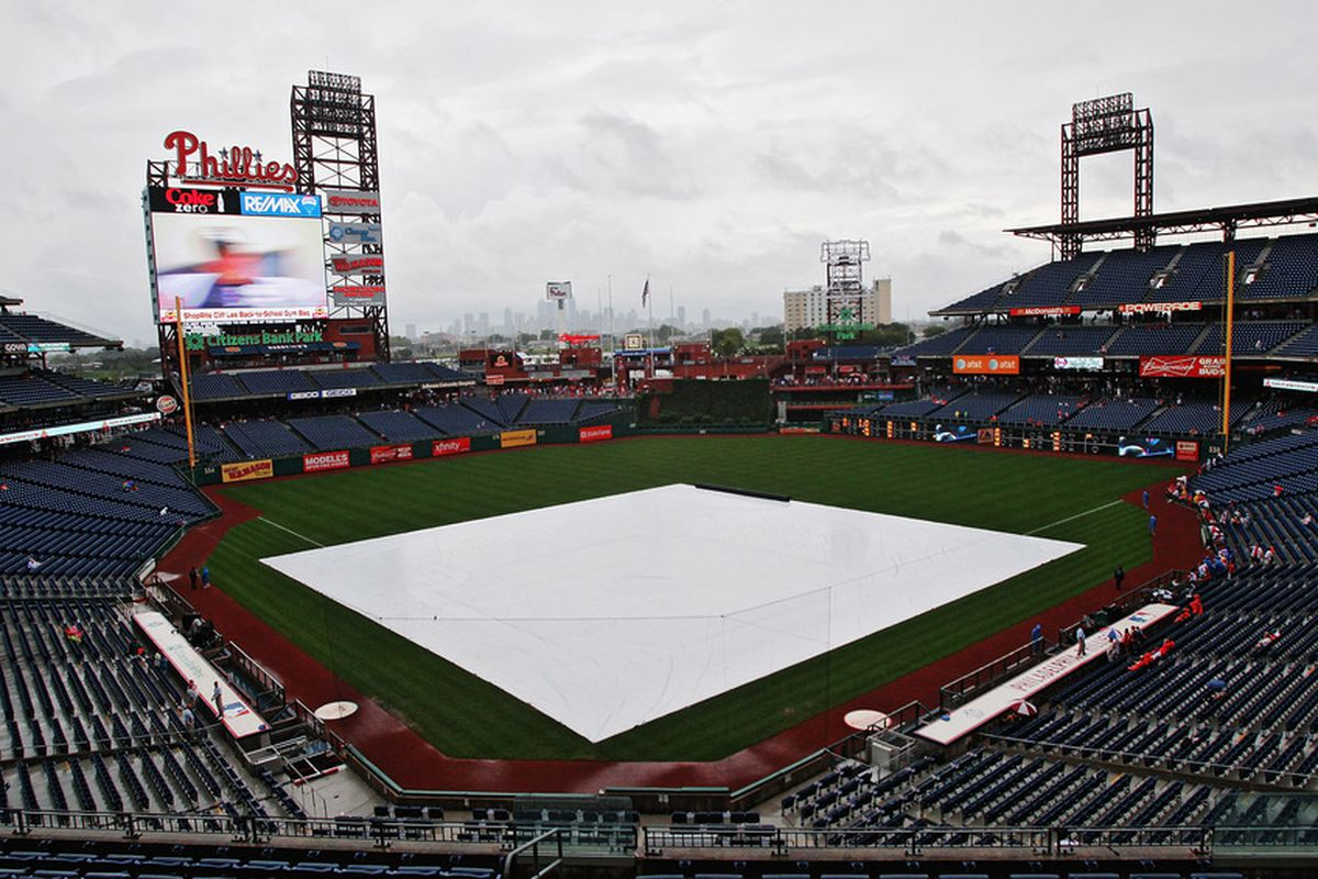 PHILADELPHIA , PA - AUGUST 27:  The Philadelphia Phillies have canceled their game against the Florida Marlins as hurricane Irene approaches at Citizens Bank Park on August 27, 2011 in Philadelphia, Pennsylvania.  (Photo by Len Redkoles/Getty Images)