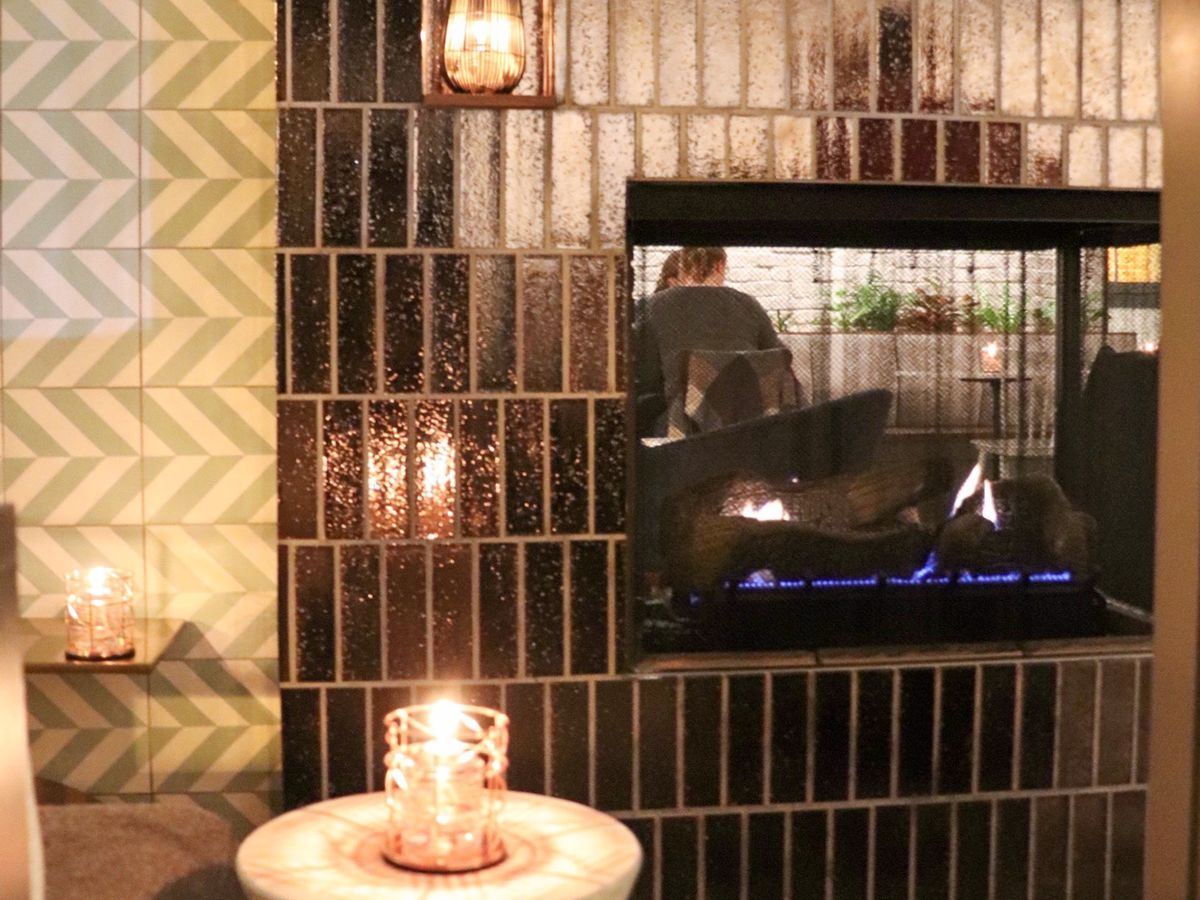 fireplace in a restaurant