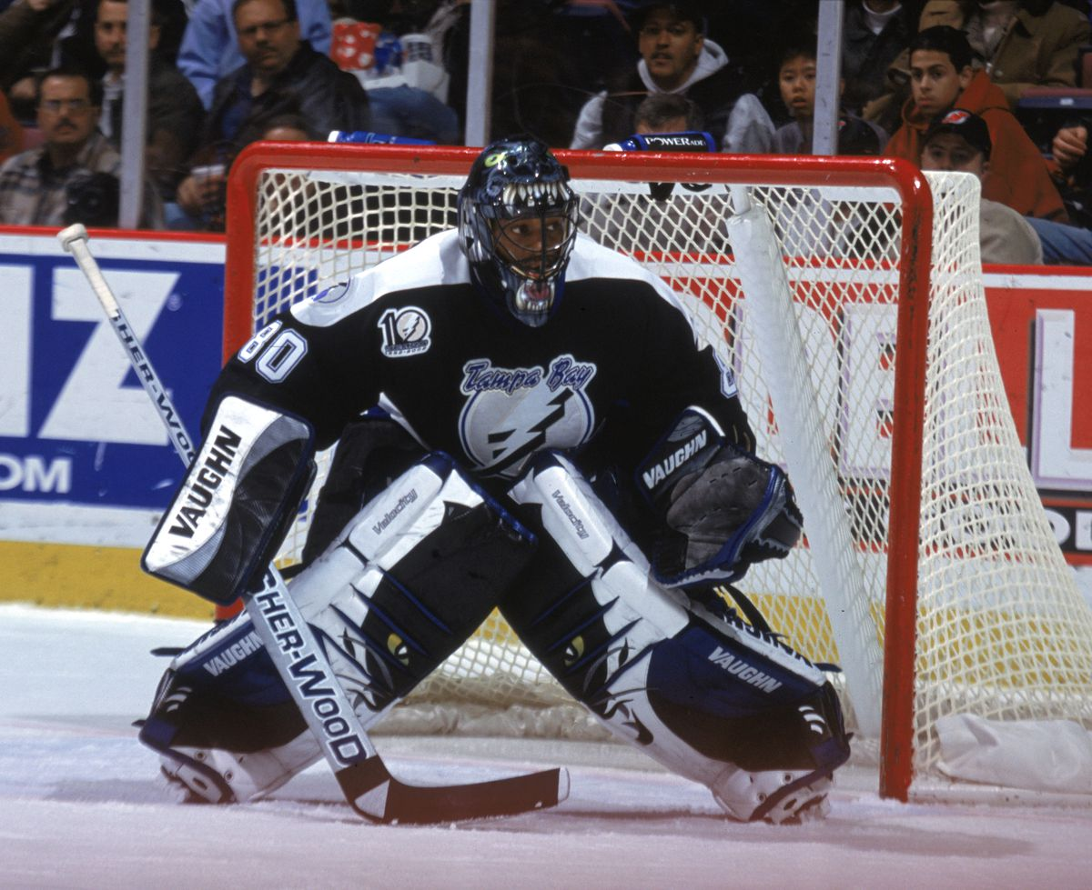 Kevin Weekes crouches in goal