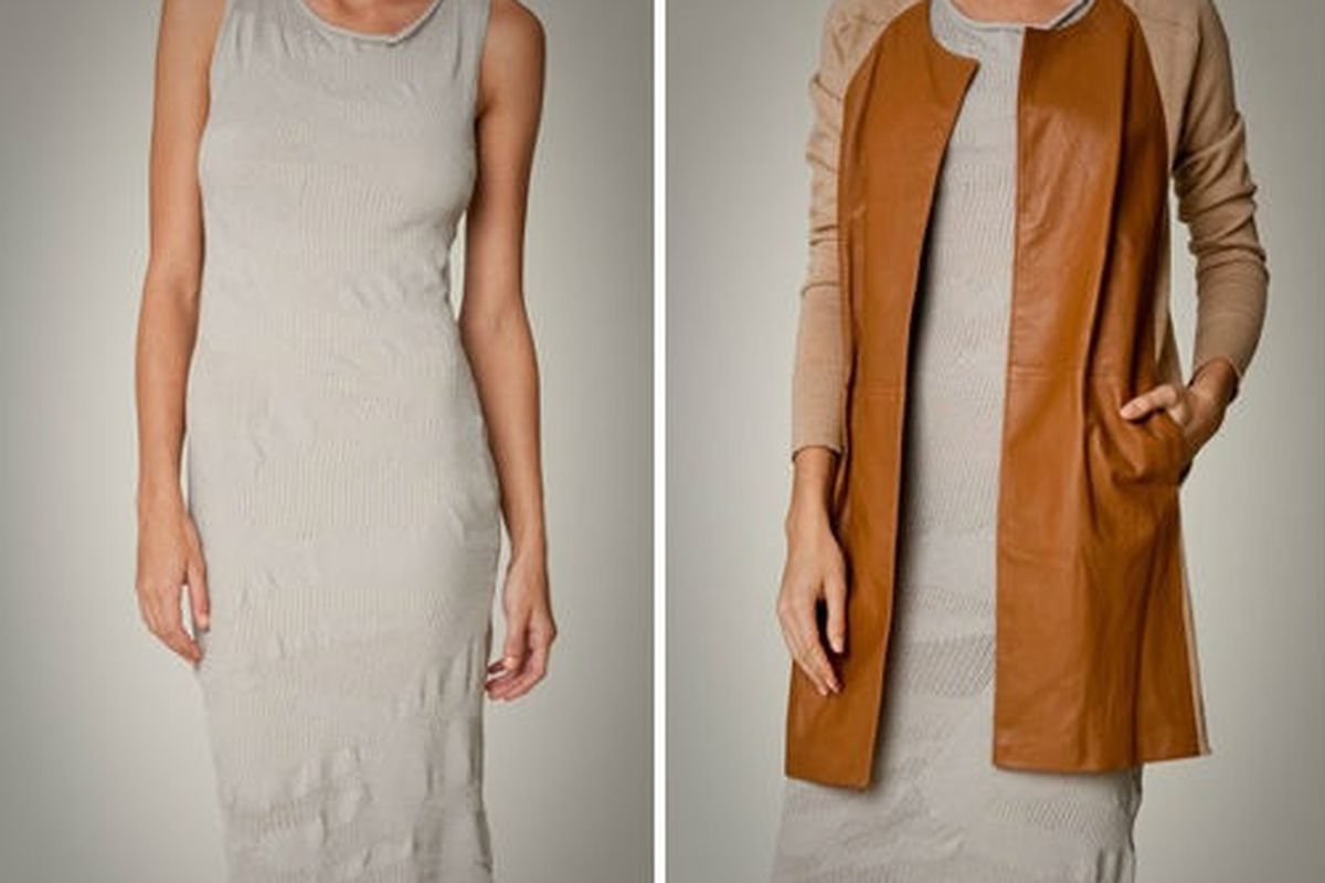 """The <a href=""""https://mpatmos.com/product/9/45/2110/11900/"""">Abstract Rib dress</a>, $297 (was $495), and the <a href=""""https://mpatmos.com/product/9/45/2086/11467/"""">Leather Front Spring coat</a>, $810 (was $1350), via <a href=""""https://mpatmos.com/depa"""