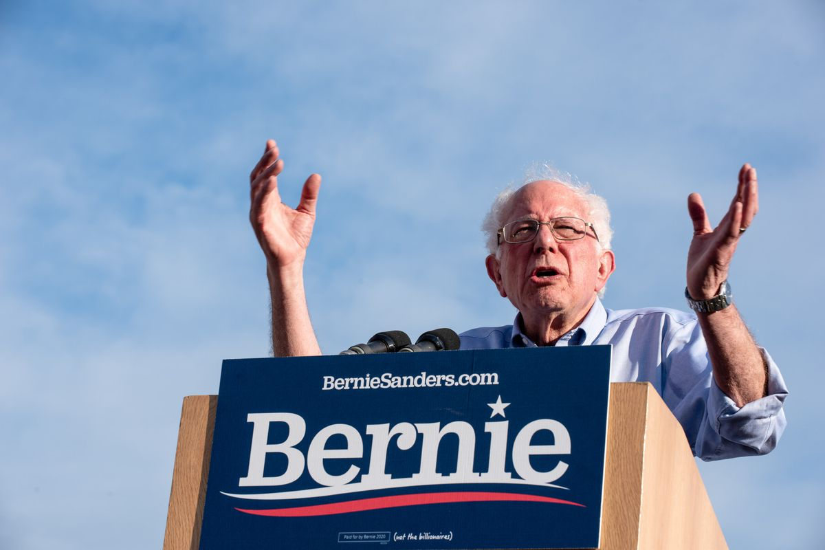 Bernie Sanders speaks to the crowd during his rally campaign in Pittsburgh.