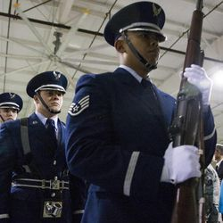 The color guard marches off after posting the colors during a change of command ceremony at Hill Aerospace Museum, Monday, Sept. 8, 2014. Brig. Gen. Carl A. Buhler assumed command of the Ogden Air Logistics Complex from Maj. Gen. H. Brent Baker, Sr.