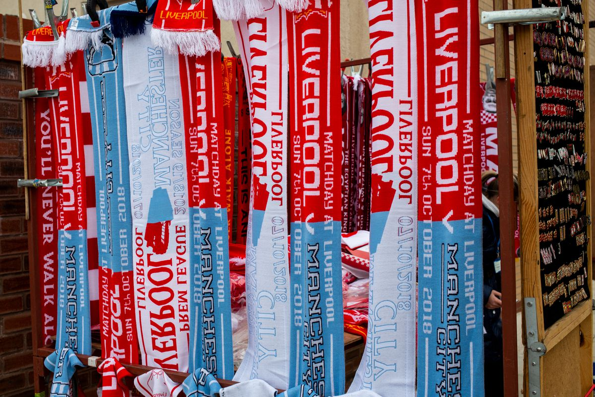 Liverpool and Manchester City scarves - Liverpool FC v Manchester City - Premier League