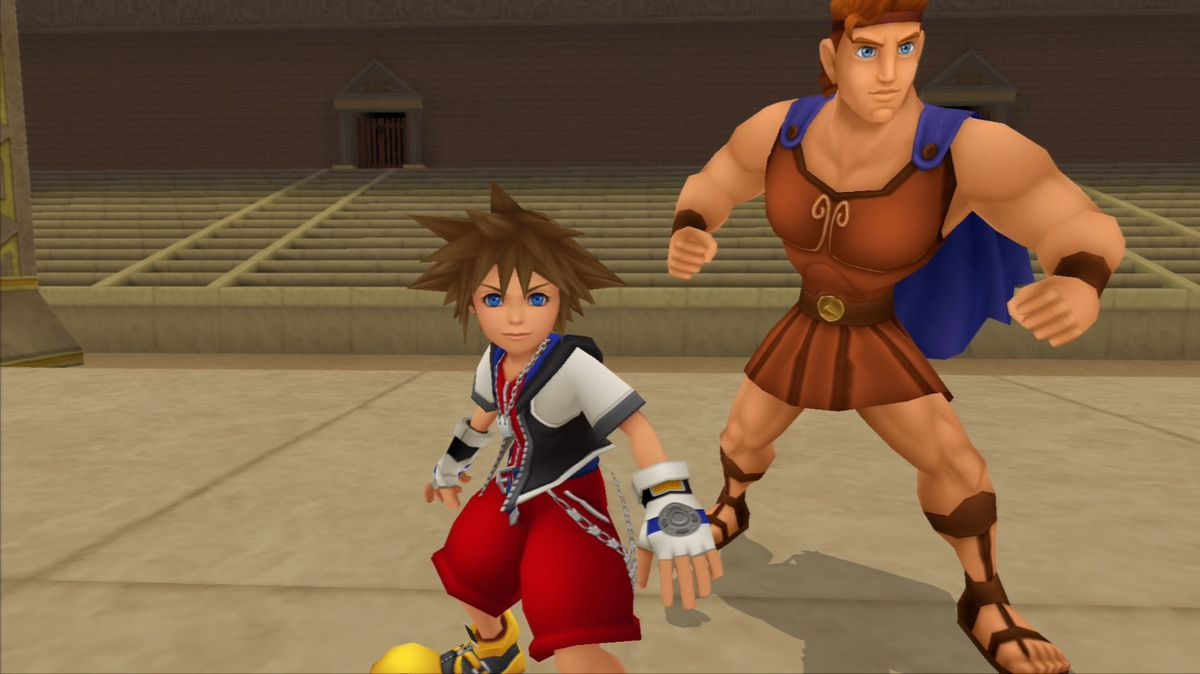 Sora stands with Hercules in Kingdom Hearts.
