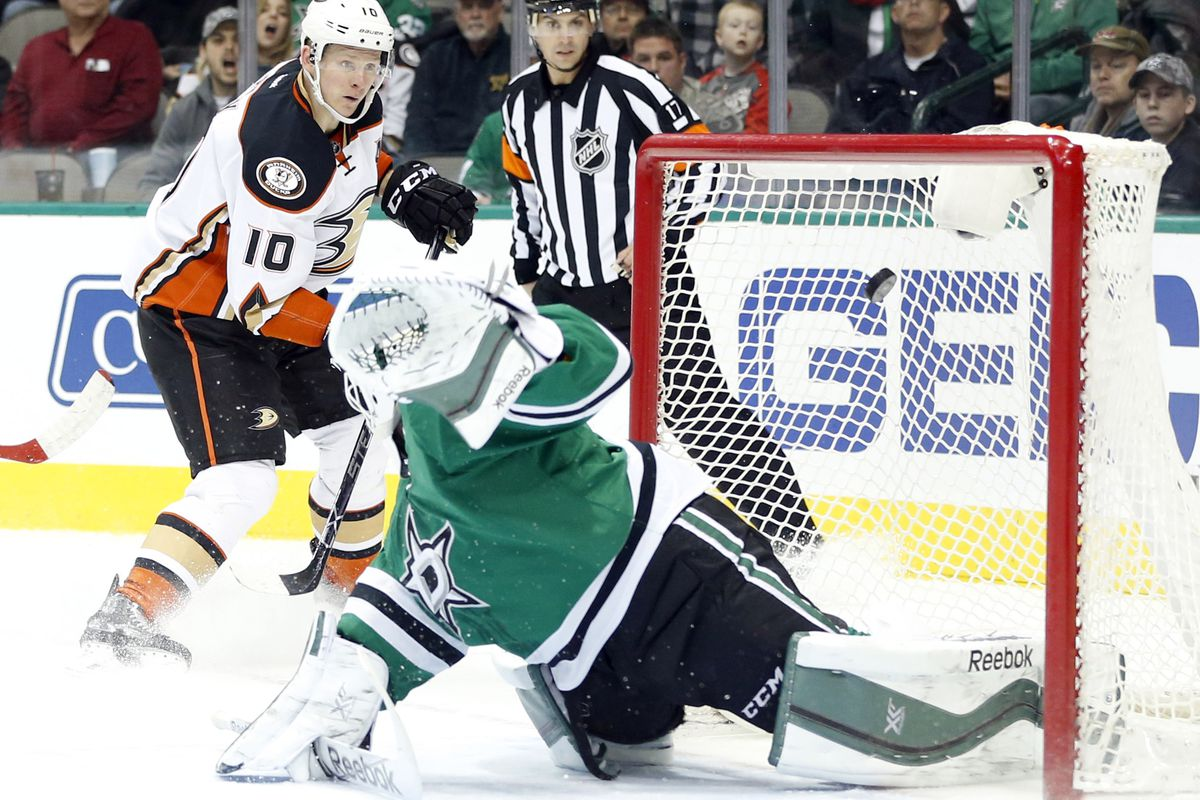 Corey Perry scores last season at American Airlines Center.
