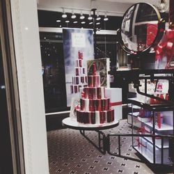 """On the way to the office, I stop by the Fresh Union Square flagship store to check out the new holiday windows. This is my first view of our <b>Sugar Lip Treatment</b> Holiday Tree—""""good"""" sweets for the lips!"""