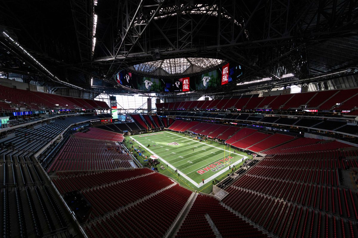 General view of the interior of Mercedes-Benz Stadium from an elevated position before an NFL regular season game against the New York Giants and the Atlanta Falcons at Mercedes-Benz Stadium on October 22, 2018, in Atlanta, GA.