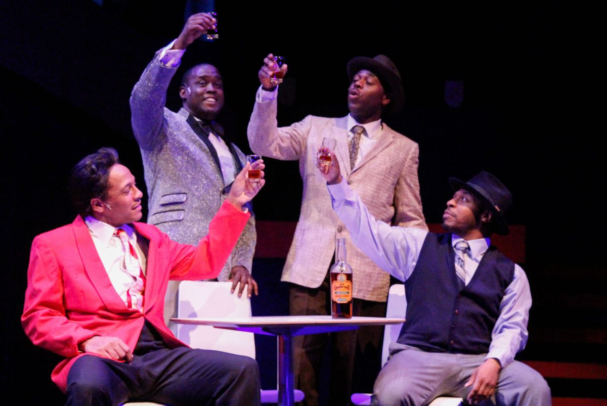 """Vincent Jordan (as Young Chuck Berry, from left), Dwight Neal (as Muddy Waters), Rueben Echoles (as Young Johnny Johnson) and Trequon Tate (as Pinetop Perkins) in a scene from """"Hail, Hail Chuck: A Tribute to Chuck Berry."""" 