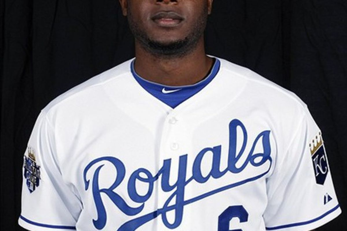 Feb 29, 2012; Surprise, AZ, USA; Kansas City Royals center fielder Lorenzo Cain (6) poses for a picture during the Royals photo day at Surprise Stadium.  Mandatory Credit: Rick Scuteri-US PRESSWIRE