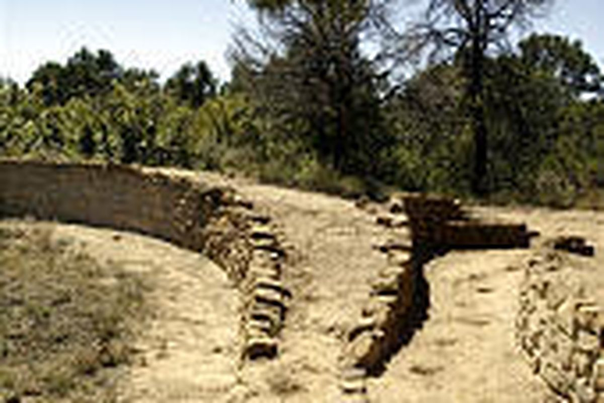 The intake channel of the prehistoric reservoir at Mesa Verde National Park. Ancient Puebloans were accomplished water engineers.