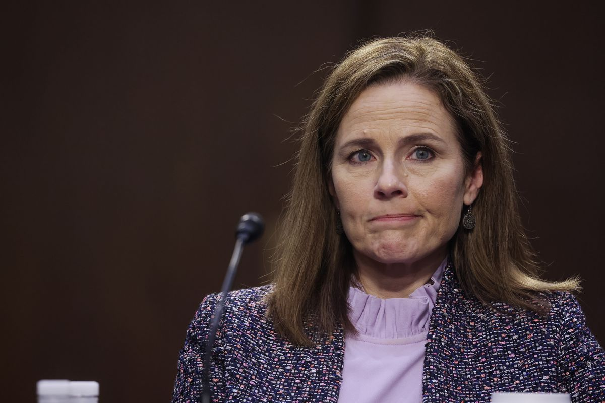Judge Amy Coney Barrett testifying before the Senate Judiciary Committee on the third day of her confirmation hearing in Washington, D.C.