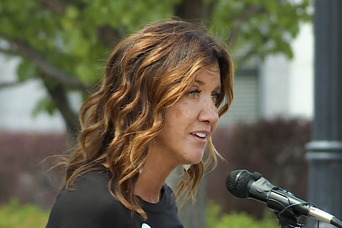 """Taryn Aiken Hiatt helps kick off a new three-year statewide campaign called """"Live On"""" at the Capitol in Salt Lake City on Thursday, May 21, 2020. The campaign aims to prevent suicide by promoting education, providing resources and changing the social norms around suicide and mental health."""