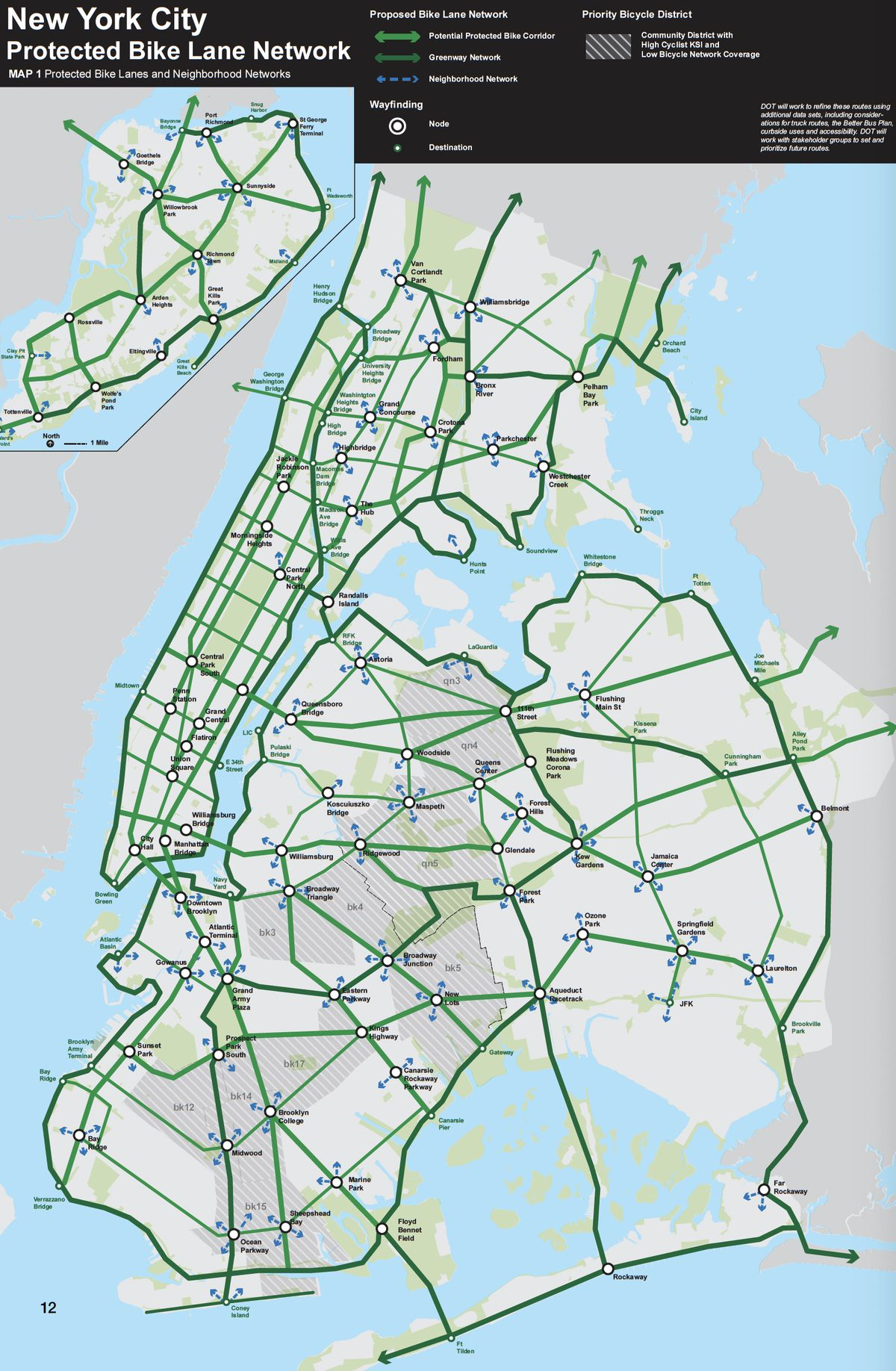 """A map of the protected bike network from from New York City's 2019 Green Wave report. Cycling enthusiasts say many sections of this network are """"notional."""""""