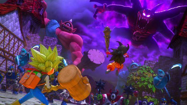 Two heroes overshadowed by large monsters in Dragon Quest Builders 2