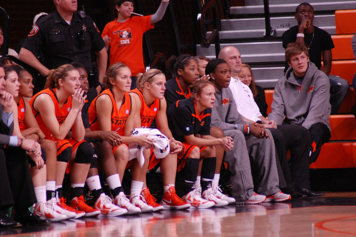All-Big 12 player Toni Young, suspended for the next three games, sits on the bench as the Cowgirls find a way to win.