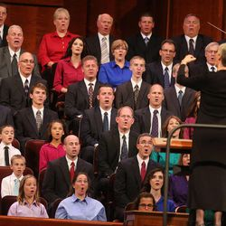 Family Choir from stakes in Roy, Kanesville, Hooper, and West Haven sings during the afternoon session of The 183rd Semiannual General Conference of the Church of Jesus Christ of Latter-day Saints Saturday, Oct. 5, 2013, in Salt Lake City.