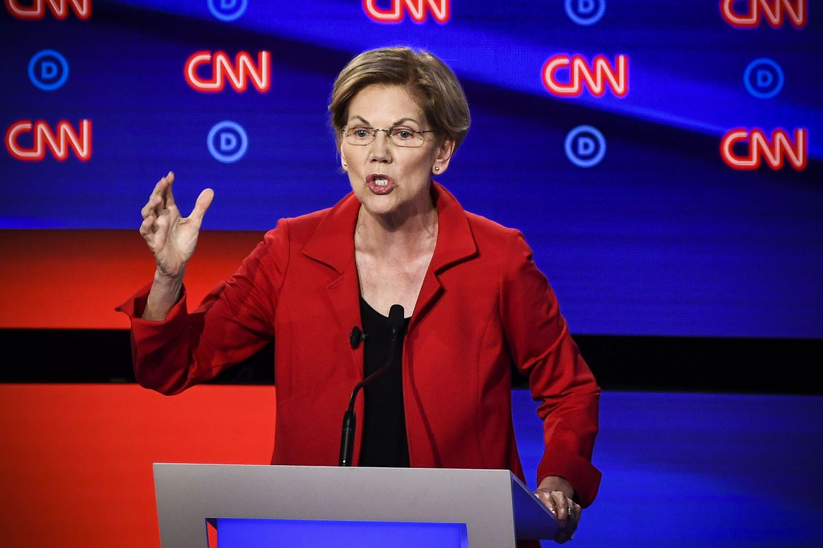 Democratic presidential hopeful Sen. Elizabeth Warren (D-MA) participates in the first round of the second Democratic primary debate on July 30, 2019.