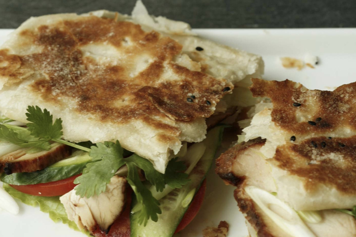 A sandwich from Foumami on shaobing, which is flatbread typical of northern Chinese cuisine.