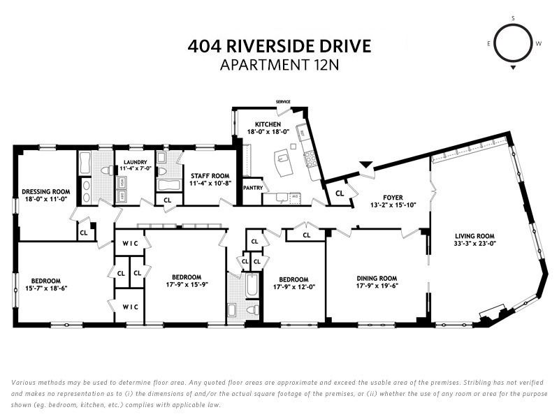 Floorplan showing a three-bedroom home with a living room, foyer, kitchen, staff room, laundry room, and dressing room.