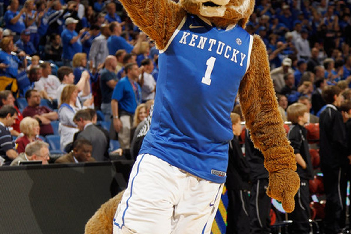 NEW ORLEANS, LA - MARCH 09:  Kentucky Wildcats mascot The Wildcat performs during the quarterfinals of the SEC Men's Basketball Tournament at the New Orleans Arena on March 9, 2012 in New Orleans, Louisiana.  (Photo by Chris Graythen/Getty Images)