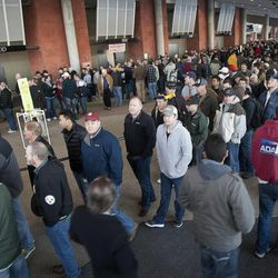 Hundreds of gun enthusiasts waited in line at the South Towne Expo Center during the 2013 Rocky Mountain Gun Show, Saturday, Jan. 5, 2013.