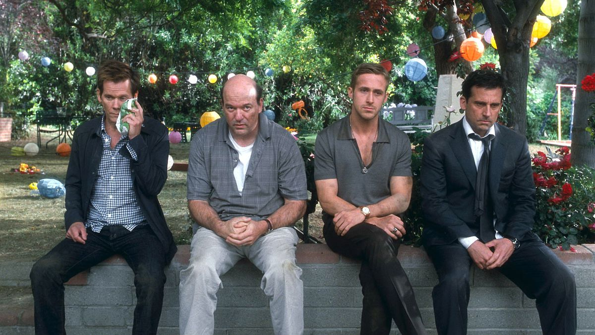 Kevin Bacon, John Carroll Lynch, Ryan Gosling, and Steve Carell sit on a wall looking defeated
