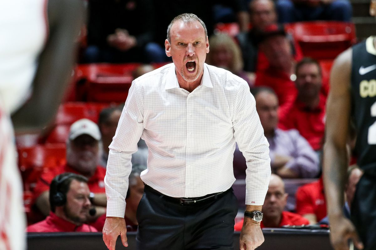 Utah Utes head coach Larry Krystkowiak calls out to players during the game against the Colorado Buffaloes at the Huntsman Center in Salt Lake City on Saturday, March 7, 2020.