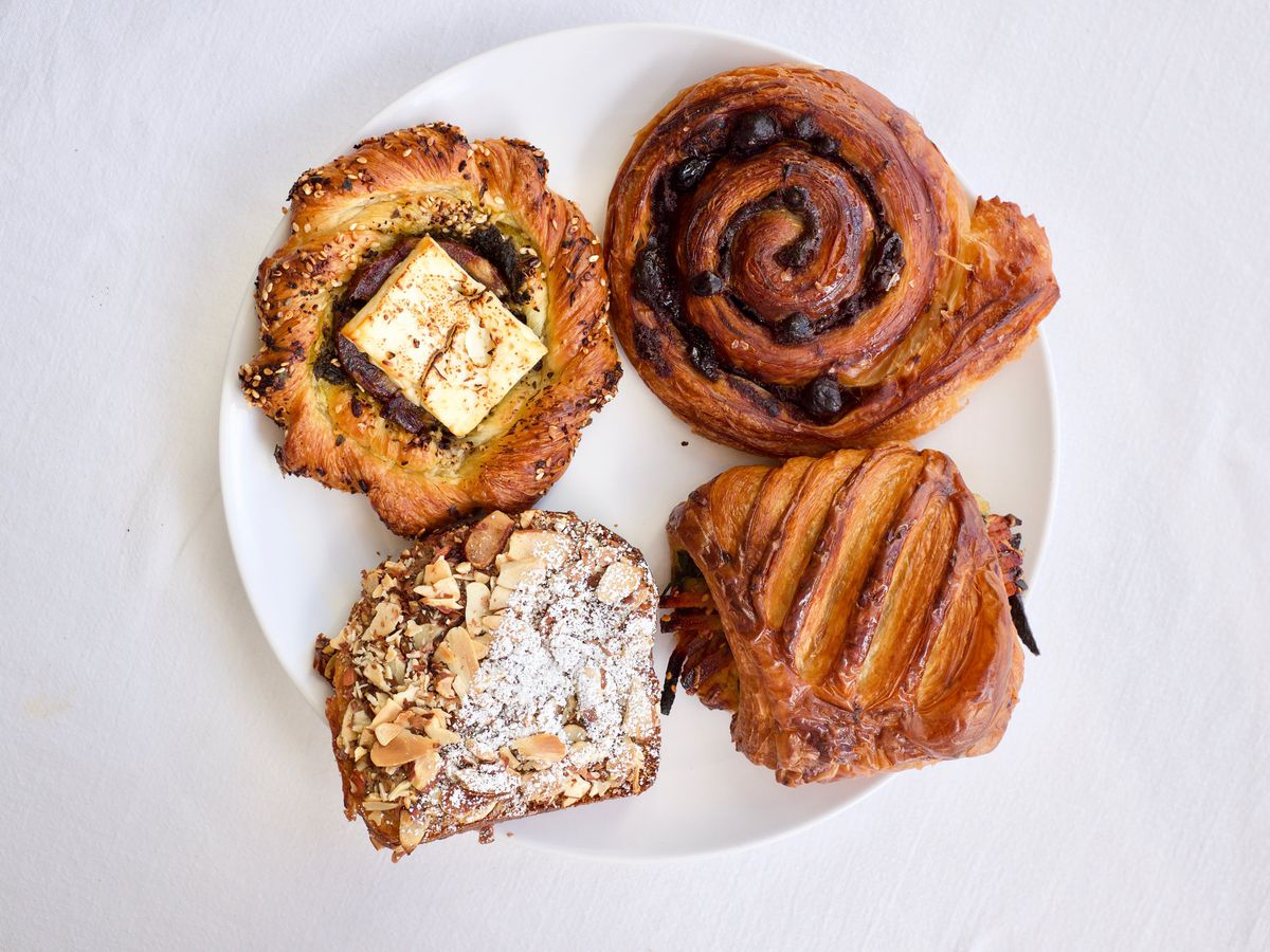 From above, a plate with four different pastries
