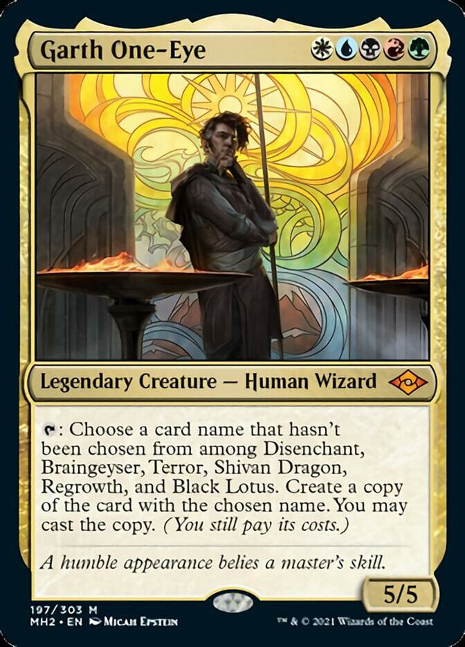 """Garth One-Eye is a legendary creature, a human wizard. """"A humble appearance belies a baster's skill."""""""