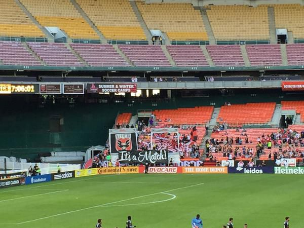 D.C. United tifo from the District Ultras showing tinder