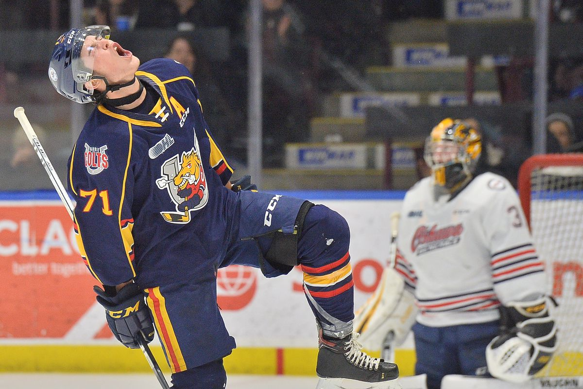 Tyson Foerster of the Barrie Colts. Photo by Terry Wilson / OHL Images